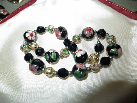 Good vintage French jet and cloisonne enamel bead necklace and bracelet