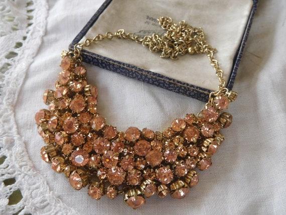 Beautiful vintage goldtone champagne rhinestone mesh backed necklace
