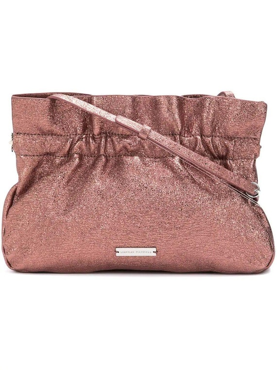 Brand new with tags Loeffler Randall Carrie Rose Quartz metallic leather clutch