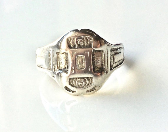 Vintage Designer Thomas L Mott Sterling Silver Abstract Tribal Signet Ring UK P
