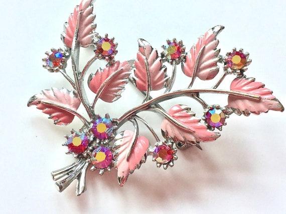 Vintage Pink Painted Enamel & Iridescent Diamante Floral Brooch