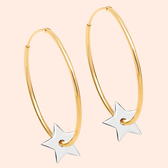"""Lovely new 14ct gold and sterling silver """"On Another Planet"""" star hoop earrings"""