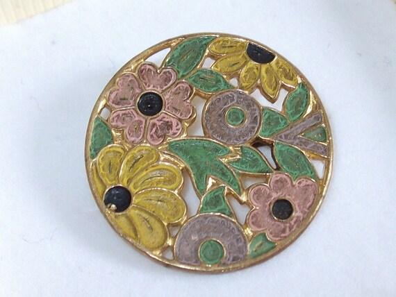 Delightful Vintage Art Deco Czech Enamel Floral Brooch