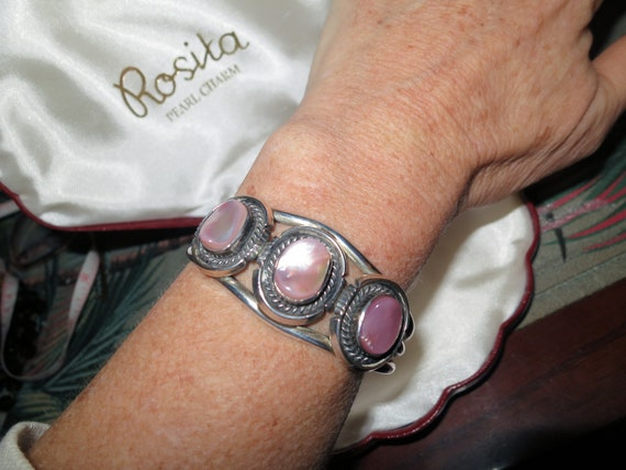 Michael Perry Native American Sterling Silver pink mother of pearl cuff bangle bracelet
