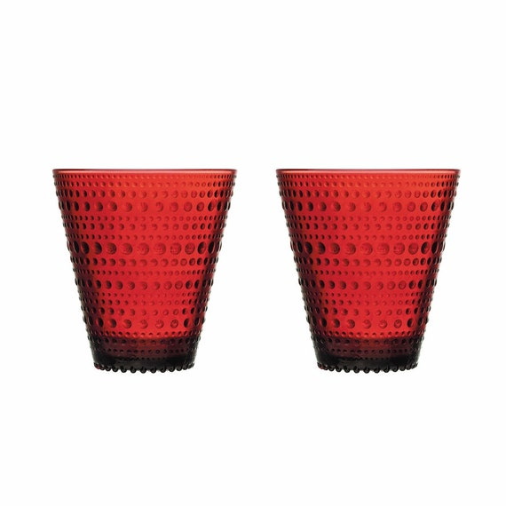 Iittala Kastehelmi Drinking Glass 30 cl box of 2 Cranberry red