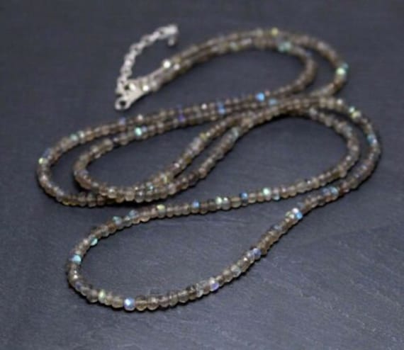 Lovely 4mm faceted natural labradorite sparkly necklace  silver clasp
