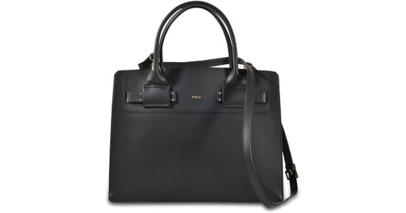Furla black leather Lucky M satchel as new