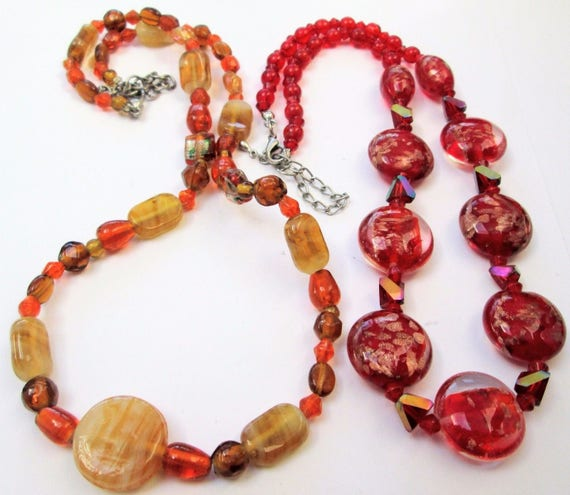 2 Lovely vintage red art glass necklaces