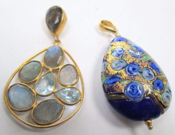 2 Fine quality large vintage gilded silver & labradorite pendant and blue Venetian glass pendant
