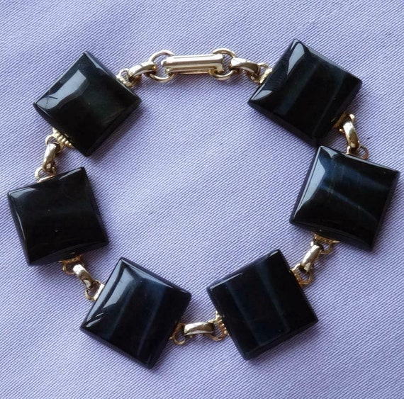 Lovely Vintage Black Tigers Eye Quartz Stone Bracelet
