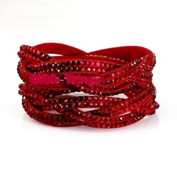 Lovely red leather red rhinestone entwined wrap bracelet or choker necklace