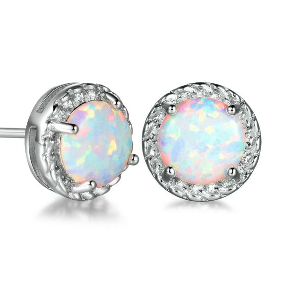 Beautiful 18 ct white gold filled white fire opal stud earrings