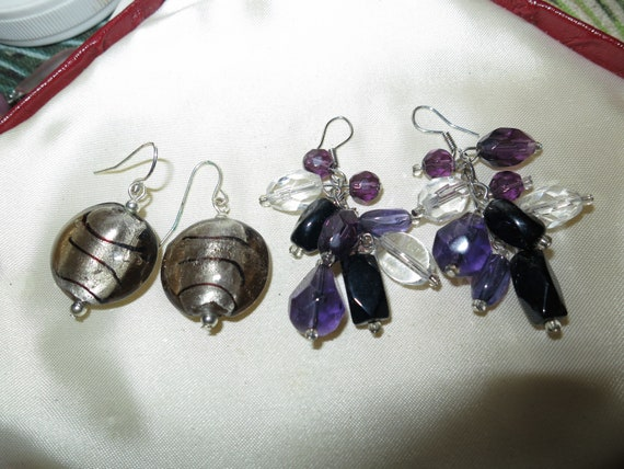 Two pairs of vintage lovely foiled glass and beaded dropper dangle earrings