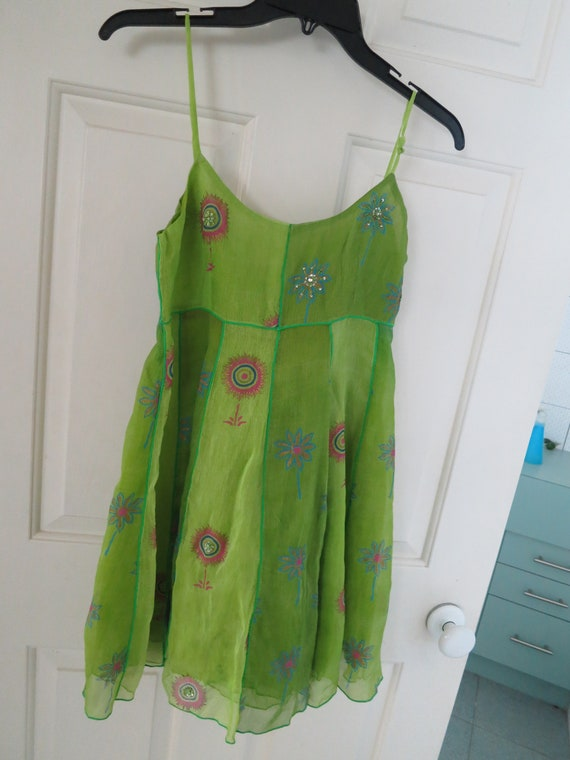 Beautiful Paul Ropp 100% green embroidered silk lined summer dress size 2 - M