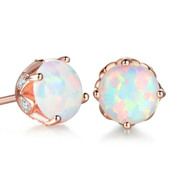 Beautiful 18 ct rose gold filled 6.5 mm white fire opal stud earrings