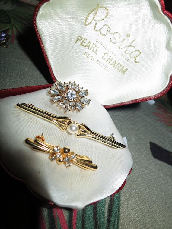 3 Wonderful vintage goldtone rhinestone fx pearl bar brooches