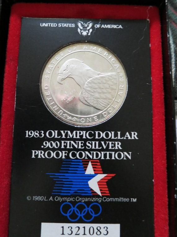 Boxed American 1983 Olympic dollar .900 fine silver 1984 LA Games