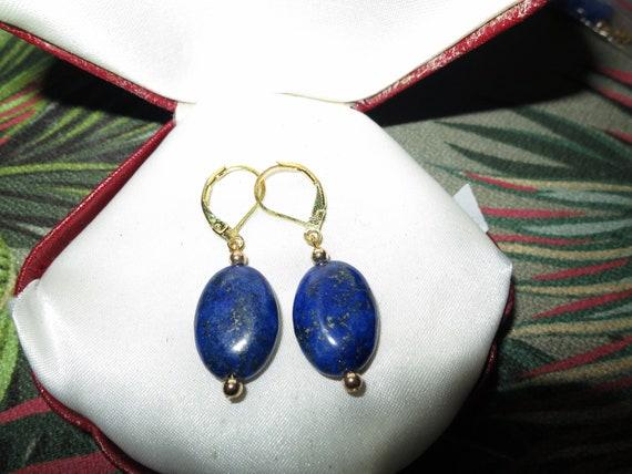 Beautiful 14ct gold plated lapis lazuli earrings
