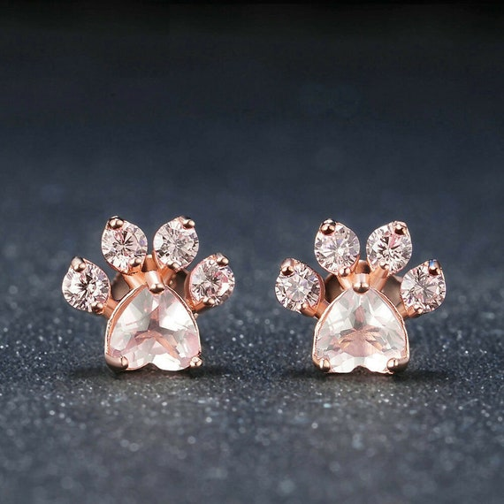 Lovely 18ct rose gold filled pale pink crystal glass cat or dog paw footprint stud earrings