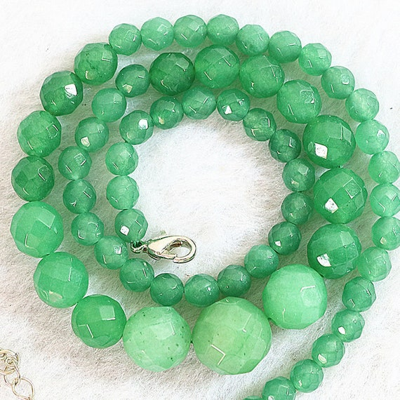 Lovely graduated  knotted natural Emerald necklace  18 inches long