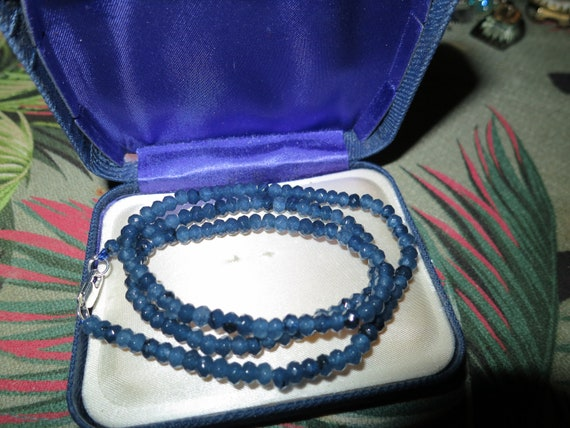 Lovely sparkly faceted 4 mm blue Kyanite necklace   18""