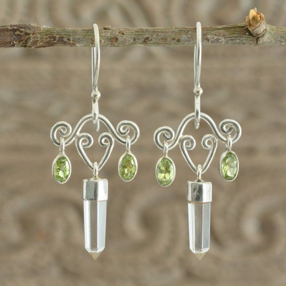 Beautiful hand crafted Sterling Silver, Genuine Green Peridot & Rock Crystal drop earrings