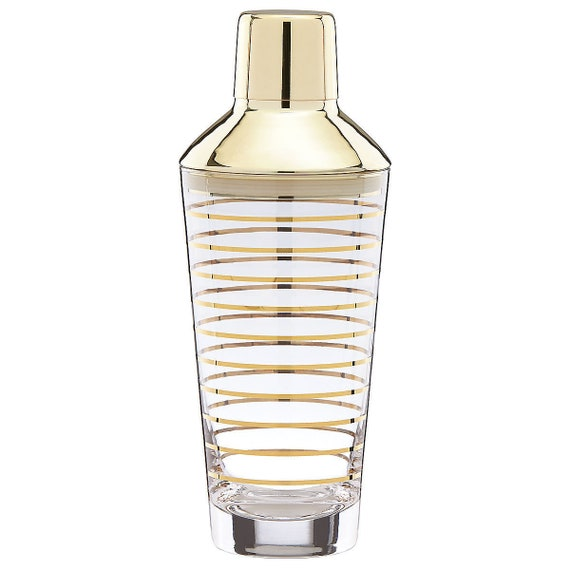 Kate Spade New York Melrose Ave Cocktail Shaker clear glass with gold stripes