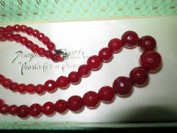 """Lovely faceted graduated natural raw ruby necklace 24"""""""