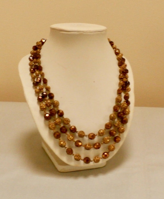 Charming vintage 3 strand bronze glass gold beaded necklace