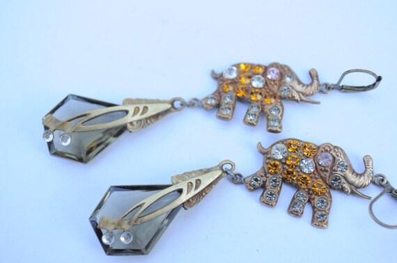 Vintage Old Czech Earrings Jewelry Art Nouveau Gray Elephant Glass Handmade