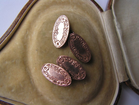 Antique gold fronted etched hallmark cuff links  cufflinks