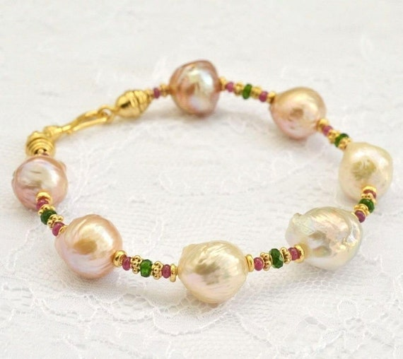 Lovely handmade high lustre Kasumi pearl bracelet with real emeralds and rubies