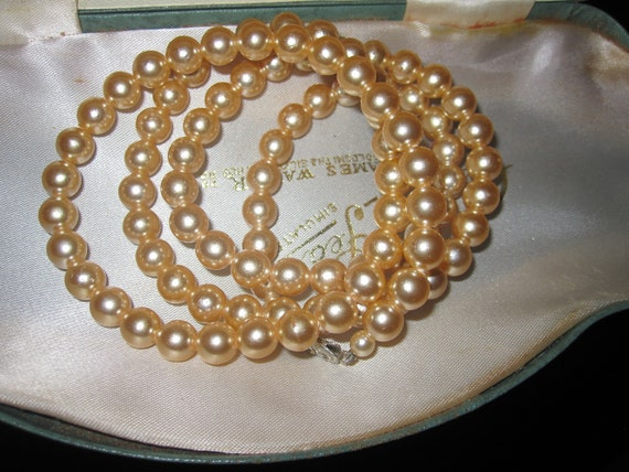 Fabulous Vintage Century Pearls lustre glass pearl long necklace in original box