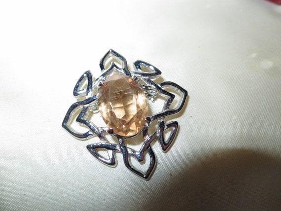 Wonderful vintage Scotish Celtic citrine glass brooch