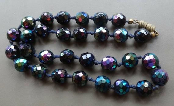 Pretty vintage multi colour carnival glass bead necklace barrel clasp