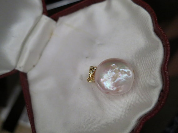 Lovely new  genuine Keshi high lustre creamy pink pearl pendant