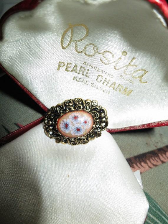 Delightful  Vintage ornate Millefiori pink blue Glass Brooch