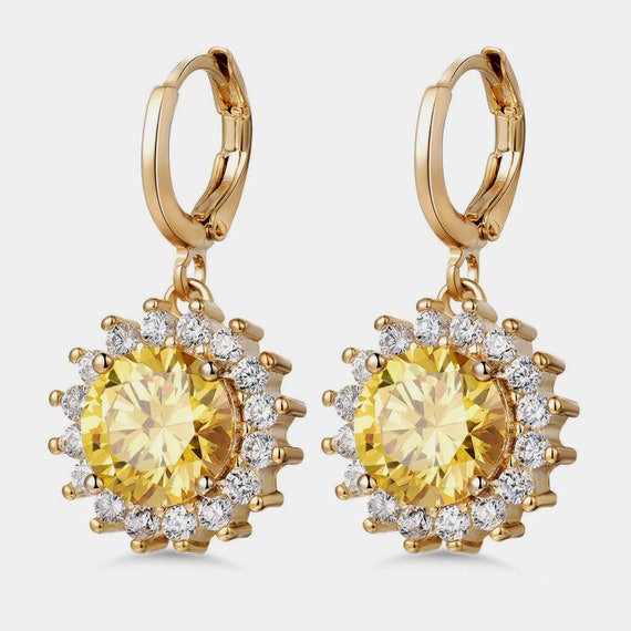 Lovely 18ct gold filled clear and citrine glass sunflower leverback earrings