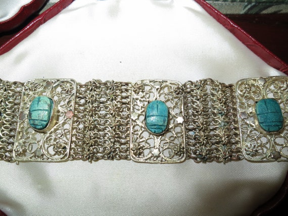 Wonderful vintage silver mesh bracelet with carved turquoise scarab stones