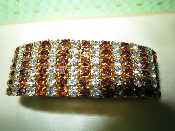 Lovely  Vintage 1950s goldtone topaz and clear glass bracelet