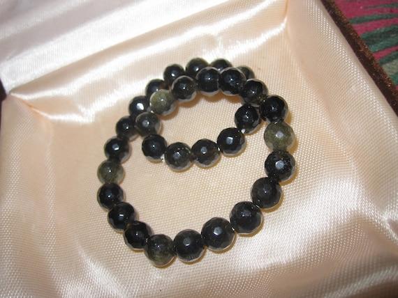 Lovely natural 6.mm faceted black gold obsidian bracelet