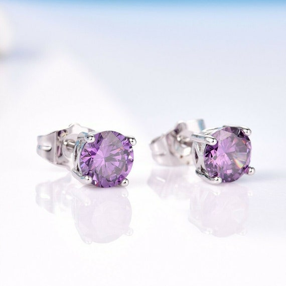Lovely 18 ct white gold filled amethyst purple sapphire crystal stud earrings