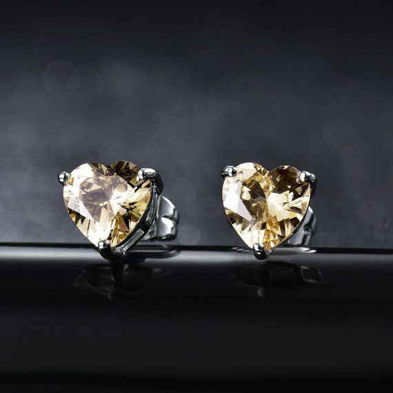 Lovely 18 ct white gold filled smoky champagne crystal heart stud earrings