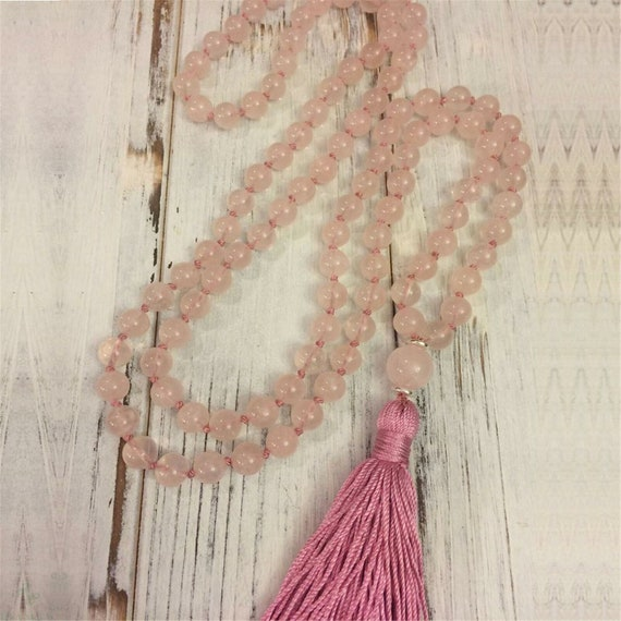 """Lovely 6mm rose quartz knotted beaded necklace 30"""" with pink tassel 3"""""""