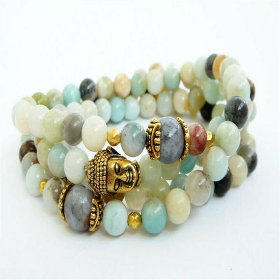 """Lovely Natural Amazonite mixed agate necklace or wrap bracelet 28"""""""