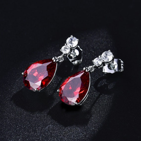 Lovely 18 ct white filled red sapphire crystal drop earrings