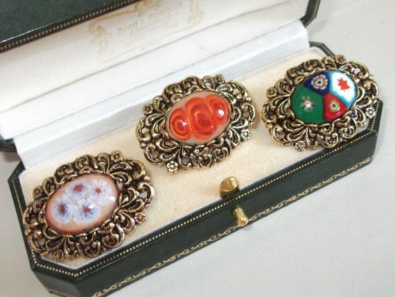 Delightful  Vintage ornate Millefiori green red blue Glass Brooch