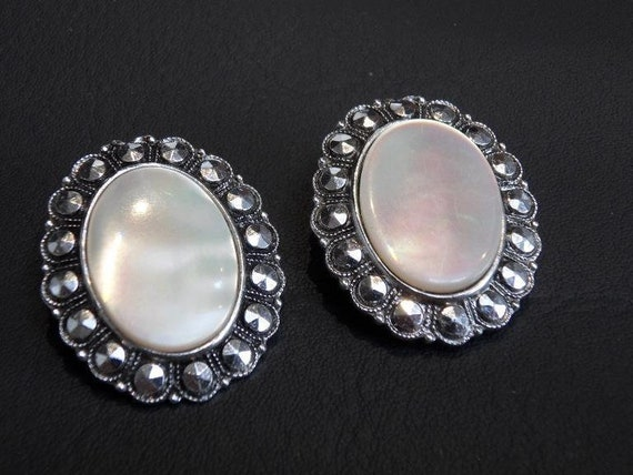 Classic vintage made in Germany mother of pearl clip on earrings