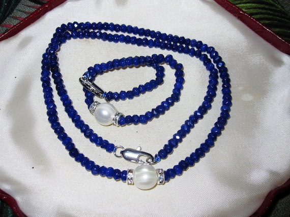 Lovely 4mm blue sapphire 10mm freshwater pearl necklace bracelet set