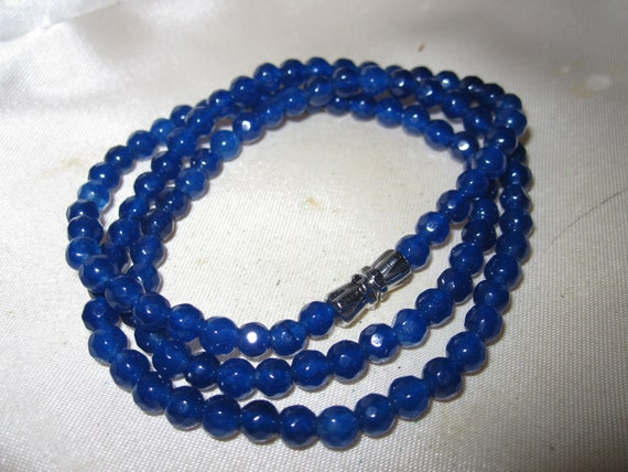 Lovely faceted  4mm faceted blue apatite necklace 18 inches